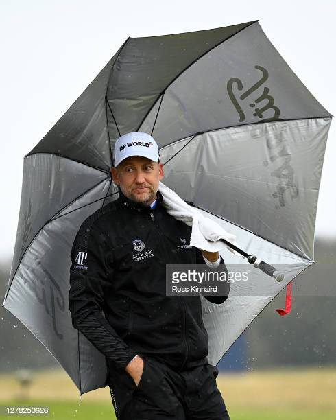 Ian Poulter of England looks on from the third tee during third round of the Aberdeen Standard Investments Scottish Open at The Renaissance Club on...