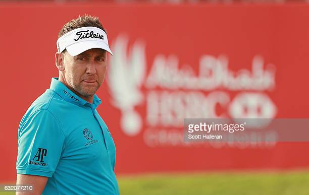 Ian Poulter of England on the 18th hole during the first round of the Abu Dhabi HSBC Championship at Abu Dhabi Golf Club on January 19 2017 in Abu...