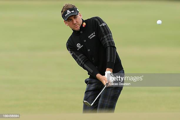 Ian Poulter of England plays a shot during day two of the Australia Masters at Kingston Heath Golf Club on November 16, 2012 in Melbourne, Australia.