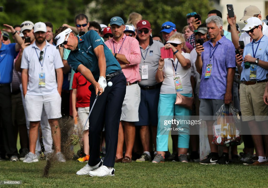 Ian Poulter of England plays a shot on the 16th hole during the third round of the 2018 RBC Heritage at Harbour Town Golf Links on April 14, 2018 in Hilton Head Island, South Carolina.