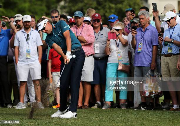 Ian Poulter of England plays a shot on the 16th hole during the third round of the 2018 RBC Heritage at Harbour Town Golf Links on April 14 2018 in...