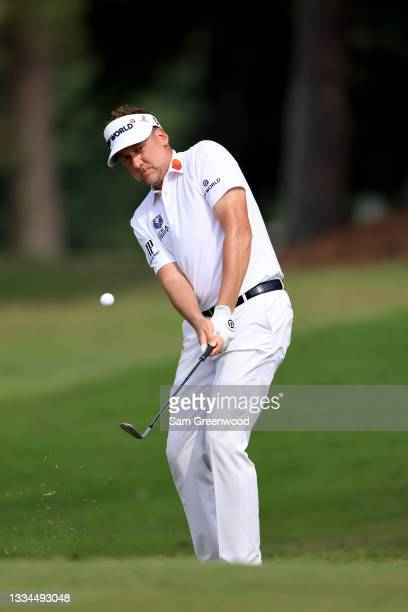 Ian Poulter of England plays a shot on the 17th hole during the final round of the World Golf Championship-FedEx St Jude Invitational at TPC...