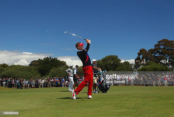 Ian Poulter of England plays an approach shot on the 9th hole during day three of the Australian Masters at Kingston Heath Golf Club on November 17,...