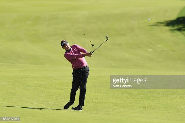 Ian Poulter of England plays his approach shot on the 18th hole during the third round of the CJ Cup at Nine Bridges on October 21 2017 in Jeju South...