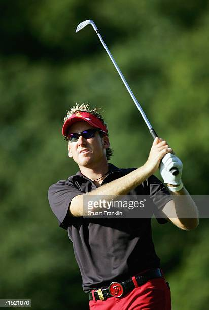 Ian Poulter of England plays his approach shot on the nineth hole during the Pro Am of The Deutsche Bank Players Championship of Europe at Gut Kaden...