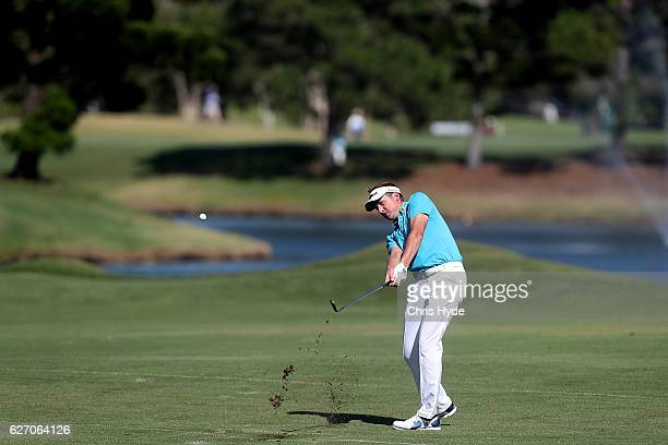 Ian Poulter of England plays his second shot during day two of the 2016 Australian PGA Championship at RACV Royal Pines Resort on December 2, 2016 in...