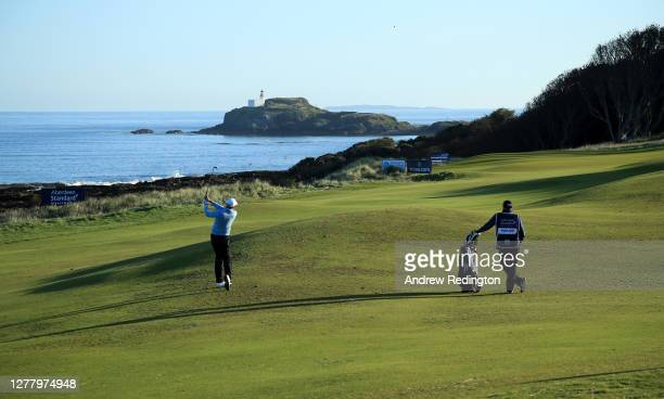 Ian Poulter of England plays his second shot on the 13th hole during the second round of the Aberdeen Standard Investments Scottish Open at The...
