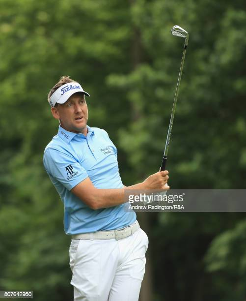 Ian Poulter of England plays his second shot on the 18th hole during The Open Championship Final Qualifying at Woburn Golf Club on July 4 2017 in...