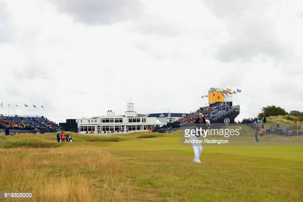 Ian Poulter of England plays his second shot on the 18th hole during the first round of the 146th Open Championship at Royal Birkdale on July 20 2017...