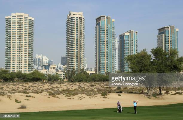 Ian Poulter of England plays his second shot on the 8th hole during day three of Omega Dubai Desert Classic at Emirates Golf Club on January 27 2018...