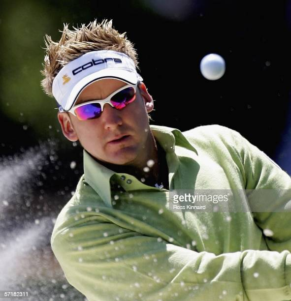 Ian Poulter of England plays his second shot on the par three 3rd hole during third round of The Players Championship on the Stadium Course at the...