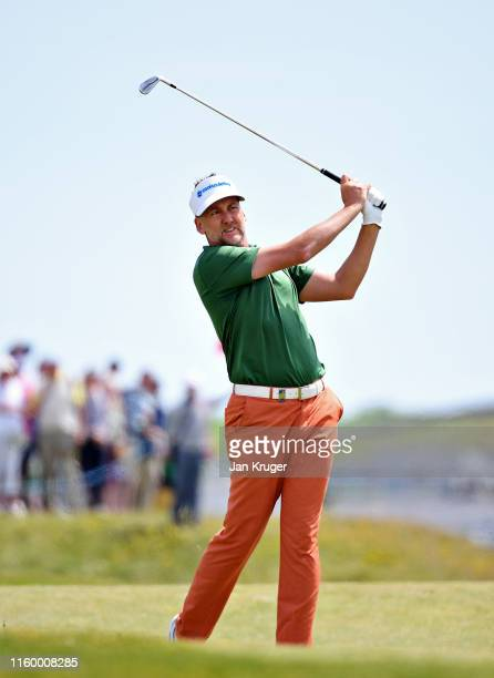 Ian Poulter of England plays his second shot on the third hole during Day One of the Dubai Duty Free Irish Open at Lahinch Golf Club on July 04 2019...