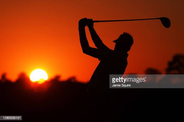 Ian Poulter of England plays his shot from the 10th tee during the second round of the Masters at Augusta National Golf Club on November 13, 2020 in...