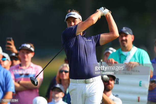 Ian Poulter of England plays his shot from the eighth tee during the third round of The Northern Trust on August 25, 2018 at the Ridgewood...