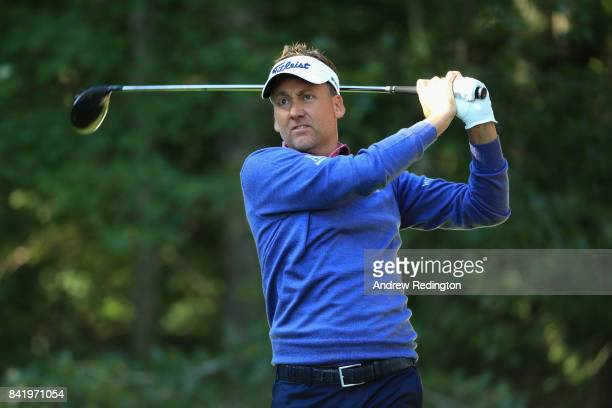 Ian Poulter of England plays his shot from the second tee during round two of the Dell Technologies Championship at TPC Boston on September 2 2017 in...