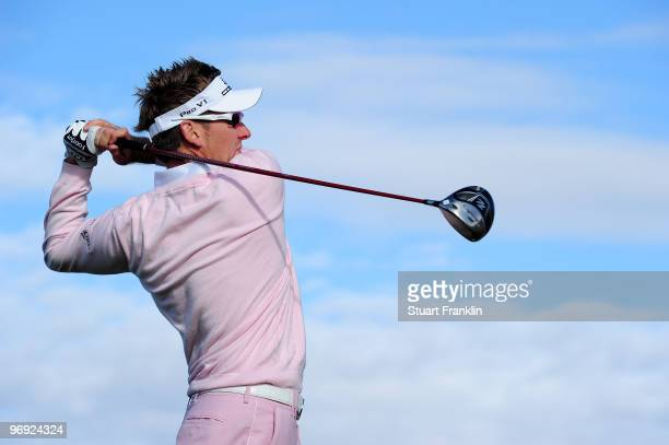 Ian Poulter of England plays his tee shot on the eighth hole during final round of the Accenture Match Play Championship at the Ritz-Carlton Golf...