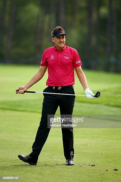 Ian Poulter of England plays into the 11th green during the first round of the 2014 Turkish Airlines Open at The Montgomerie Maxx Royal on November...