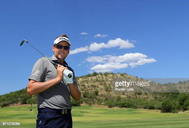 Ian Poulter of England poses of a picture on the range at the Lost City ahead of the Nedbank Golf Challenge at Gary Player CC on November 7 2017 in...
