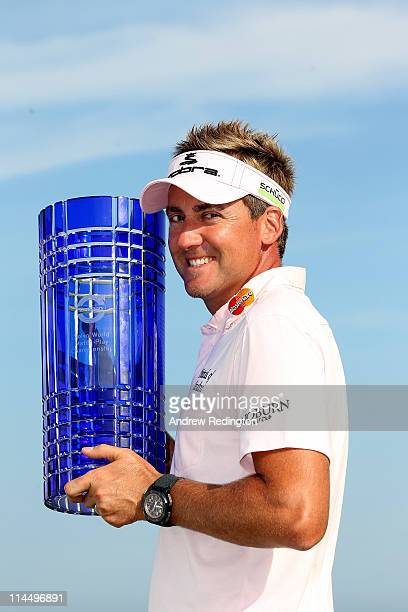 Ian Poulter of England poses with the trophy after winning the Volvo World Match Play Championship at Finca Cortesin on May 22 2011 in Casares Spain