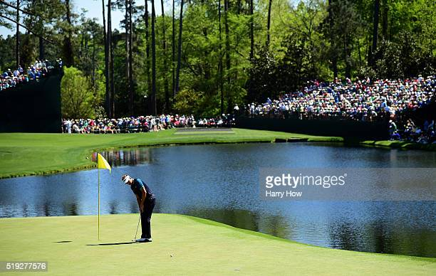 Ian Poulter of England putts during a practice round prior to the start of the 2016 Masters Tournament at Augusta National Golf Club on April 5 2016...