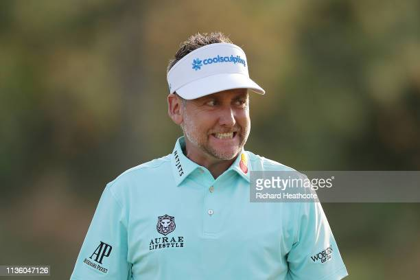 Ian Poulter of England reacts after a putt on the eighth green during the second round of The PLAYERS Championship on The Stadium Course at TPC...