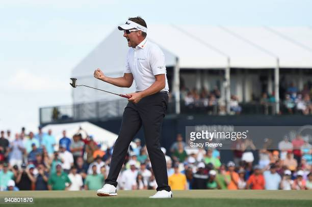 Ian Poulter of England reacts after winning the Houston Open at the Golf Club of Houston on the first playoff hole on April 1 2018 in Humble Texas