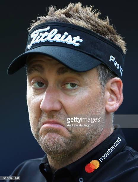 Ian Poulter of England reacts on the 14th during the BMW PGA Championship ProAM at Wentworth on May 24 2017 in Virginia Water England