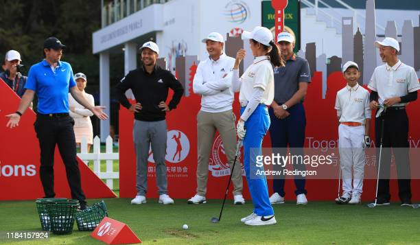 Ian Poulter of England Rory McIlroy of Northern Ireland Xander Schauffele of United States of America Haotong Li of China pictured with Zixin Ni 2019...