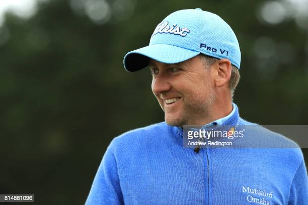Ian Poulter of England smiles on the 18th hole during day three of the AAM Scottish Open at Dundonald Links Golf Course on July 15 2017 in Troon...