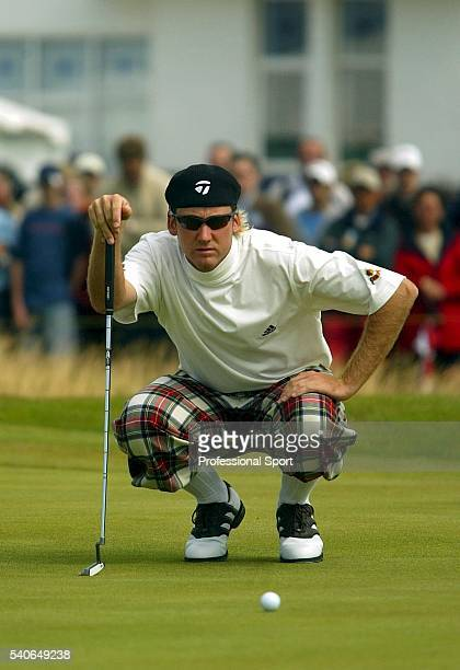 Ian Poulter of England sporting tartan plus fours during his final round at the British Open Championship at Royal Troon Golf Club Ayrshire Scotland...