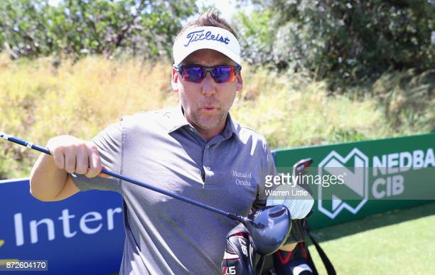 Ian Poulter of England takes part in the Bad Coaching televised event ahead of the Nedbank Golf Challenge at Gary Player CC on November 7 2017 in Sun...