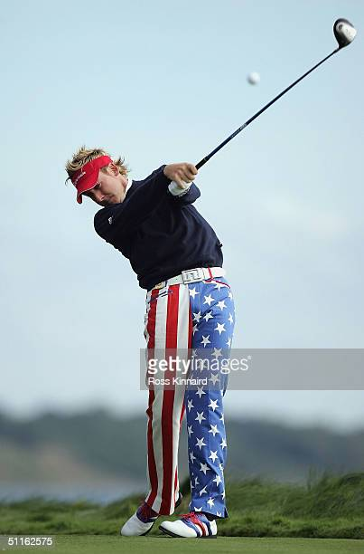 Ian Poulter of England tees off on the 16th hole during the first round of the U.S. PGA Championship at the Whistling Straits Golf Course on August...