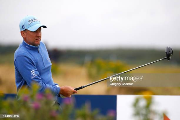 Ian Poulter of England tees off on the 17th hole during day three of the AAM Scottish Open at Dundonald Links Golf Course on July 15 2017 in Troon...