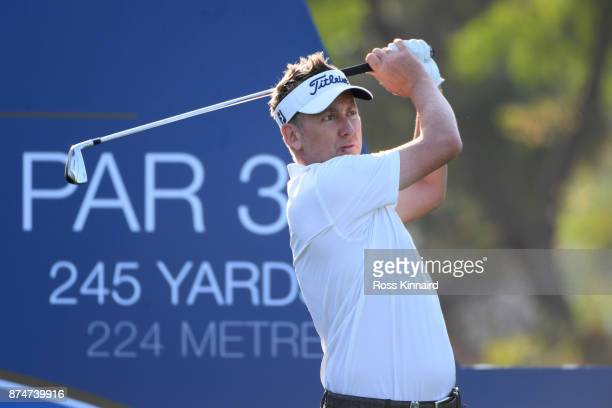 Ian Poulter of England tees off on the 4th hole during the first round of the DP World Tour Championship at Jumeirah Golf Estates on November 16 2017...