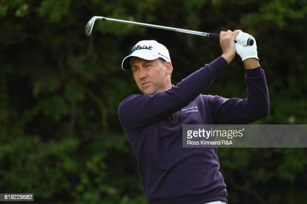 Ian Poulter of England tees off on the 5th hole during the first round of the 146th Open Championship at Royal Birkdale on July 20 2017 in Southport...