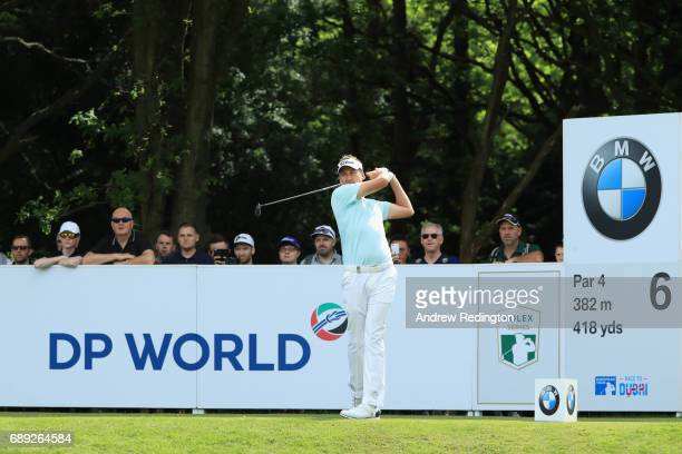 Ian Poulter of England tees off on the 6th hole during day four of the BMW PGA Championship at Wentworth on May 28 2017 in Virginia Water England