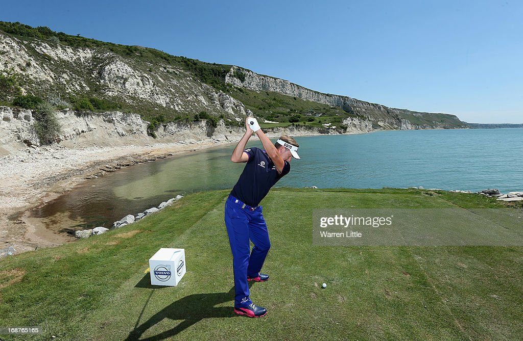 Ian Poulter of England tees off on the ninth hole during the pro am event prior to the Volvo World Match Play Championship at Thracian Cliffs Golf & Beach Resort on May 15, 2013 in Kavarna, Bulgaria.