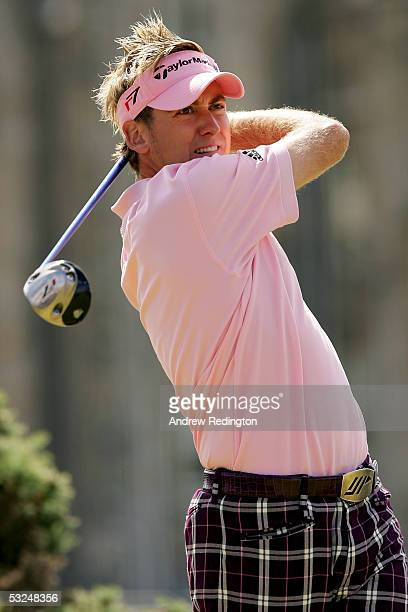Ian Poulter of England tees off on the second hole during the final round of the 134th Open Championship at Old Course, St Andrews Golf Links, July...