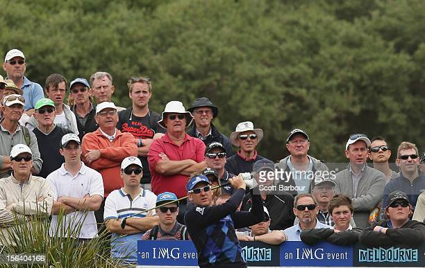 Ian Poulter of England tess off during day one of the Australian Masters at Kingston Heath Golf Club on November 15, 2012 in Melbourne, Australia.
