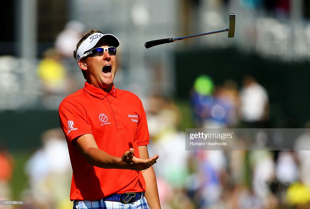 Ian Poulter of England throws his putter after missing a putt on the 17th green during round three of THE PLAYERS Championship at the TPC Sawgrass Stadium course on May 9, 2015 in Ponte Vedra Beach, Florida.