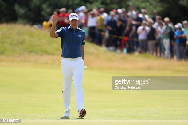 Ian Poulter of England walks onto the 1st green during the final round of the 146th Open Championship at Royal Birkdale on July 23 2017 in Southport...