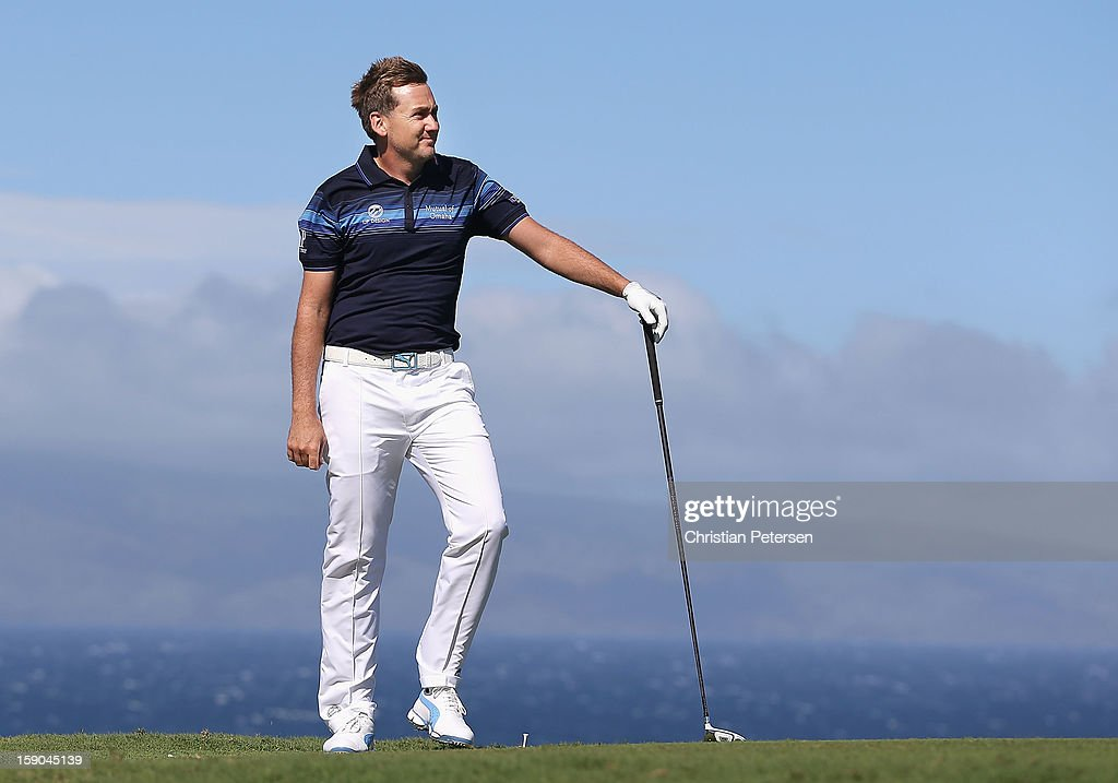 Ian Poulter of England watches his tee shot on the 10th hole during the replay of the first round of the Hyundai Tournament of Champions at the Plantation Course on January 6, 2013 in Kapalua, Hawaii.