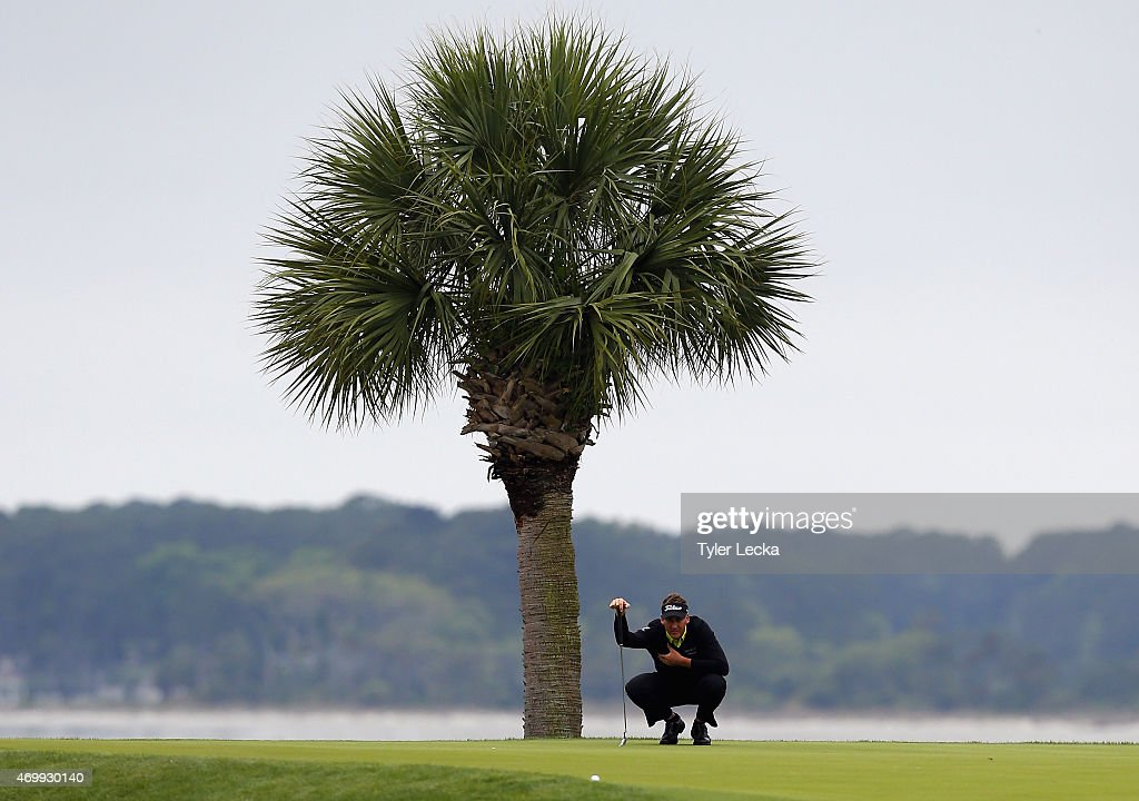 Ian Poulter of England watches his tee shot on the 18th hole during the first round of the RBC Heritage at Harbour Town Golf Links on April 16, 2015 in Hilton Head Island, South Carolina.