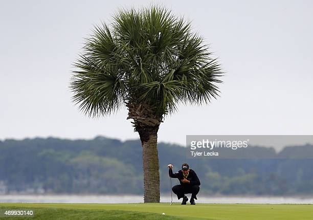 Ian Poulter of England watches his tee shot on the 18th hole during the first round of the RBC Heritage at Harbour Town Golf Links on April 16 2015...