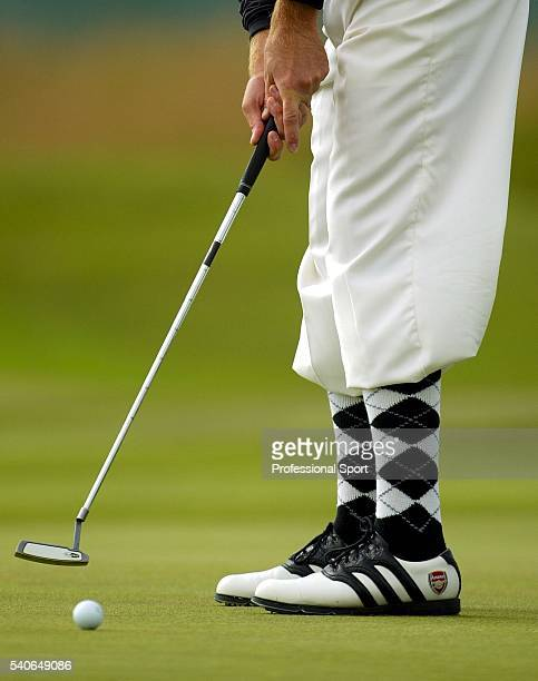 Ian Poulter of England wearing Arsenal golf shoes during his second round at the British Open Championship at Royal Troon Golf Club Ayrshire Scotland...