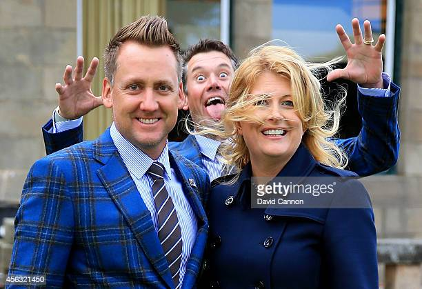 Ian Poulter of Europe and wife Katie Poulter pose as Lee Westwood of Europe photo bombs before the Opening Ceremony ahead of the 40th Ryder Cup at...