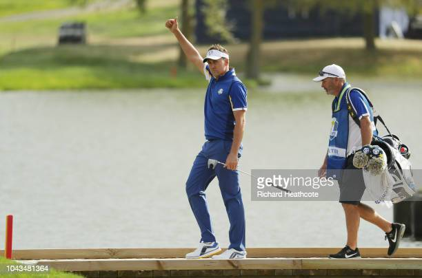 Ian Poulter of Europe celebrates during singles matches of the 2018 Ryder Cup at Le Golf National on September 30 2018 in Paris France