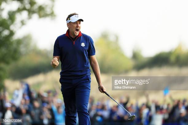 Ian Poulter of Europe celebrates during the afternoon foursome matches of the 2018 Ryder Cup at Le Golf National on September 28 2018 in Paris France
