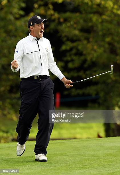 Ian Poulter of Europe celebrates holing a putt on the 15th green during the Fourball Foursome Matches during the 2010 Ryder Cup at the Celtic Manor...