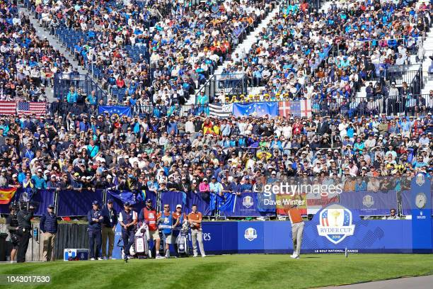 Ian Poulter of Europe in the Foursomes during Day Two of the 2018 Ryder Cup at Le Golf National on September 29 2018 in Paris France